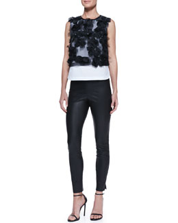 Robert Rodriguez Floral-Applique Sleeveless Top & Stretch Leather Leggings