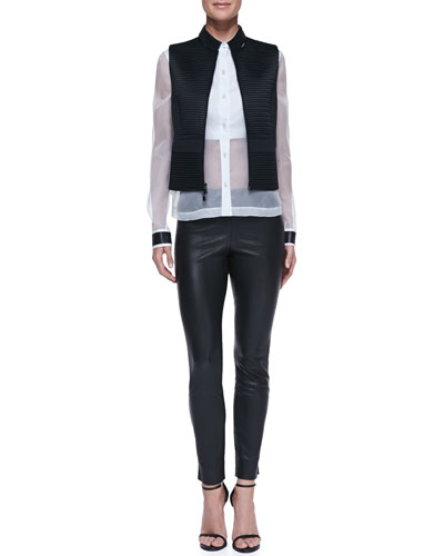 Robert Rodriguez Quorra Texture-Stripe Vest, Leather-Collar Sheer/Solid Organza Blouse & Stretch Leather Leggings