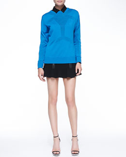 Robert Rodriguez Android Merino Seamed Sweater, Buttoned Leather-Collar Shirt & Zip-Detail Knit Flounce Skirt