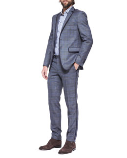 Etro Grosgrain-Trim Check Two-Button Blazer, Contrast-Detail Striped-Poplin Shirt & Grosgrain-Trim Check  Pants