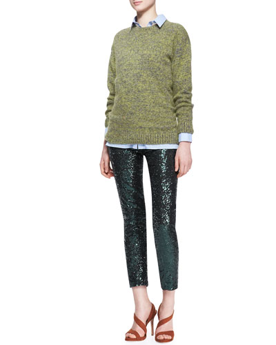 Wool-Blend Knit Pullover Sweater, Pinstripe Lace-Front Button Blouse & Sequined Straight-Leg Cropped Pants