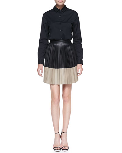 Robert Rodriguez Buttoned Leather-Collar Shirt and Colorblock Pleated Leather Skirt