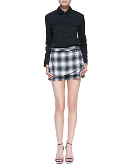 Robert Rodriguez Buttoned Leather-Collar Shirt & Plaid-Flannel Wrap Shorts