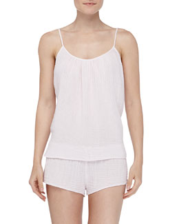 Xirena Kora Cotton Gauze Tank & Shaw Shorts, Shell