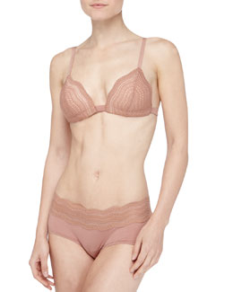Cosabella Dolce Scalloped Soft Push-Up Bra & Boy Shorts, Hazel