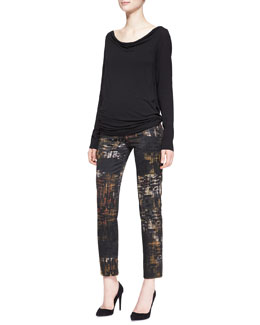 Donna Karan Long-Sleeve Open-Back Tunic & Slim Abstract Printed Pants