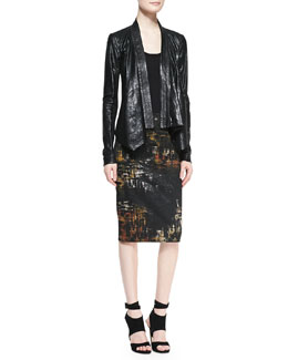 Donna Karan Leather Cozy Jacket & Abstract Painted Print Tube Skirt