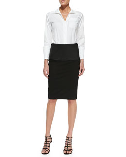 Donna Karan Tailored Menswear Shirt & Structured Pencil Skirt with Leather Band