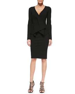 Donna Karan Structured Jacket with Leather Belt & Pull-On Jersey Pencil Skirt