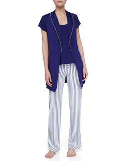 Splendid Intimates Rope-Trim Cap-Sleeve Robe, Drapey Soft Jersey Tank & Rope Stripe Summer Pants