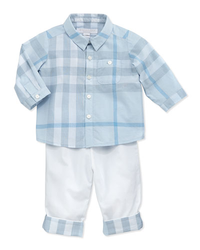 Newborn Button-Down Check Shirt & Casual Cotton Trousers