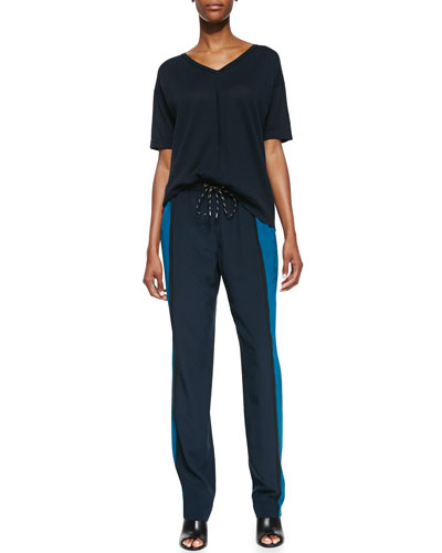 Magaschoni Short-Sleeve V-Neck Pullover & Colorblock Relaxed Pants