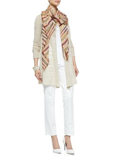 Eileen Fisher Boucle Stripe Cardigan, Slim Tank, Slim Twill Trousers & Nomadic Multi-Stripe Scarf