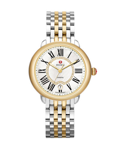 MICHELE Serein 16 Two-Tone Diamond Watch Head & 16mm Bracelet Strap