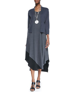 Eileen Fisher 3/4-Sleeve Cardigan & Sleeveless Colorblock V-Neck Jersey Dress