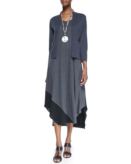 Eileen Fisher 3/4-Sleeve Slub Cropped Cardigan, Graphite