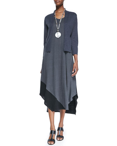 3/4-Sleeve Slub Cropped Cardigan & Sleeveless Colorblock V-Neck Jersey Dress, Petite