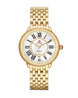 MICHELE Serein 16 Gold Plated Diamond Watch Head & 16mm Bracelet Strap