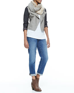 Eileen Fisher Coated Moto Asymmetric-Zip Jacket, Sparkle Striped Infinity Scarf, Slub Jersey Long Tank & Stretch Boyfriend Jeans