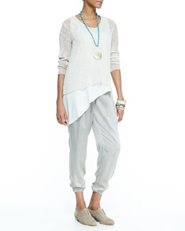 Eileen Fisher Airy Linen V-Neck Top, Silk Asymmetric Draped Shell & Charmeuse Ankle Pants