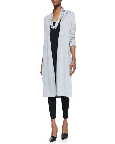 Eileen Fisher Hooded Long Organic Cotton Cardigan, Long Jersey Tunic, Viscose Jersey Leggings & Drapey Metallic Necklace