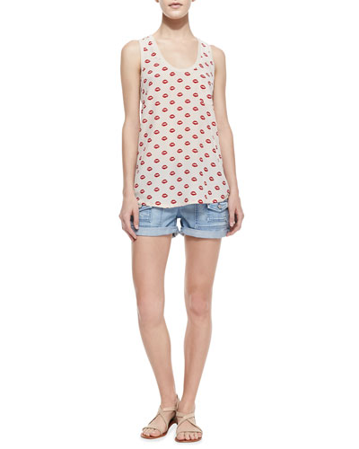 Joie Alicia Lips-Print Silk Tank & So Real Cuffed Denim Shorts