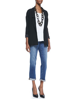 Eileen Fisher Long Boyfriend Jacket, Slub Jersey Tank & Stretch Boyfriend Jeans