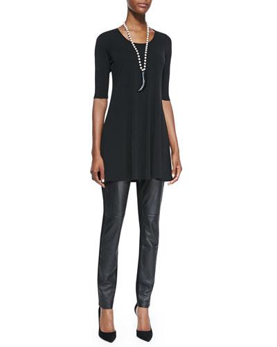 Eileen Fisher Half-Sleeve Jersey Tunic & Ponte Leather-Block Leggings