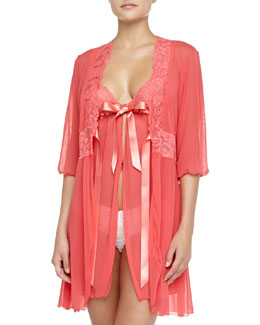 Cosabella Fetherston Tie-Front Sheer Babydoll & Lace-Inset Robe, Shell Pink