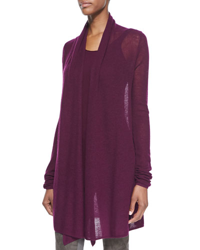 Donna Karan Cashmere Mesh Drape-Front Cozy Cardigan & Lightweight Stretch Knit Tank