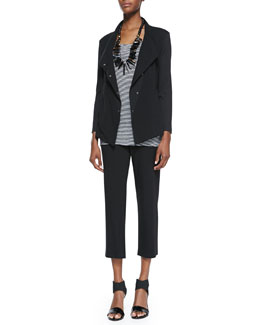 Eileen Fisher Snap-Front Stretch Jersey Jacket, Striped Jersey Tank & Cropped Stretch Yoga Pants