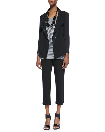 Eileen Fisher Snap-Front Stretch Jersey Jacket, Striped Jersey Tank & Cropped Stretch Yoga Pants, Women's