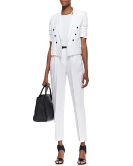 Milly Cropped Sailor-Style Blazer, Halter Loose Linen-Blend Top & Paper Bag Pleated Trousers