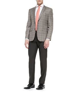 Boss Hugo Boss Houndstooth Windowpane 2-Button Blazer, Dot Neat-Pattern Silk Tie & Wool Flat-Front Pants