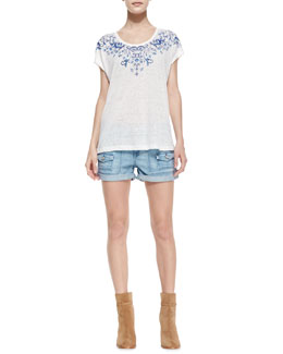 Joie Nasa B Embroidered Slub Tee & So Real Cuffed Denim Shorts
