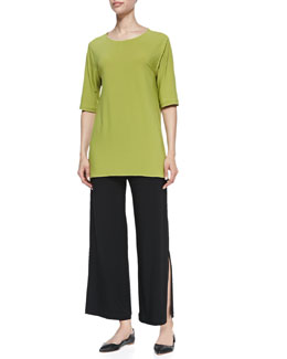 Caroline Rose Stretch-Knit High-Low Tee & Wide-Leg Ankle Pants, Petite