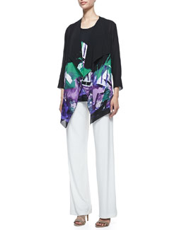 Caroline Rose Expressions Draped Jacket, Jersey Tank & Wide-Leg Pants