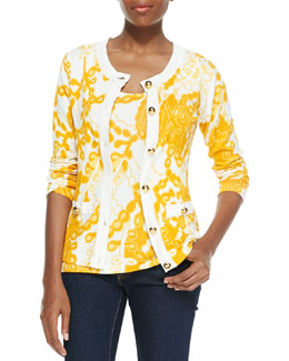 Michael Simon Printed Cardigan with Golden Buttons & Shell, Petite