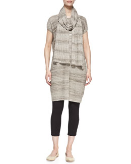 Joan Vass Short-Sleeve Linen-Blend Tunic, Scarf & Cropped Stretch-Jersey Leggings