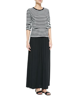 Joan Vass Long-Sleeve Striped Top & Long Pleated Skirt, Petite