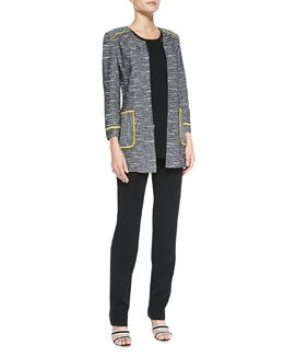 Misook Tipped Tweed Jacket, Long Tank & Straight-Leg Jersey Pants