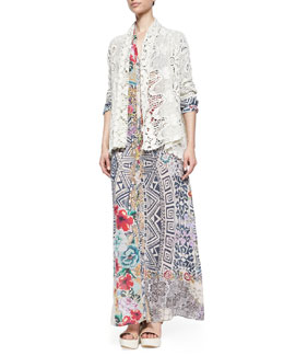 Johnny Was Collection Crochet Cotton Coverup Cardigan & Radiant Printed Button-Front Maxi Shirtdress