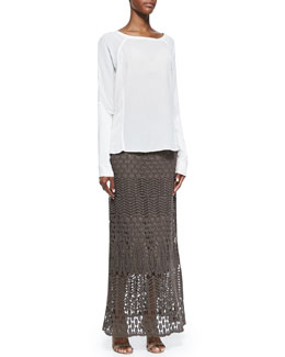 XCVI Long-Sleeve Crepe Blouse & Cecilia Crochet Skirt, Women's