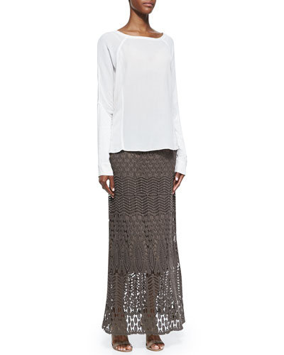 Long-Sleeve Crepe Blouse & Cecilia Crochet Skirt, Women's