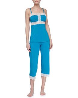 Cosabella Mora Lace-Trim Camisole & Crop Pants, Sapphire/Ivory