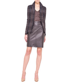 Akris Plaid Flannel Jacket, Silk Jersey T-Shirt & Leather Zip-Pocket Pencil Skirt
