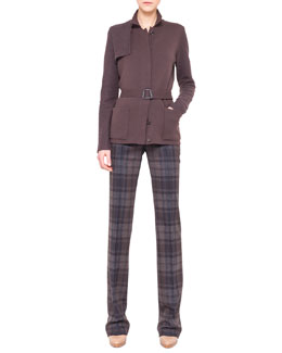 Akris Belted Knit Trench Cardigan, Silk Jersey T-Shirt & Marilyn Plaid Flannel Pants