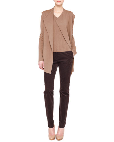 Akris Long Fluid Knit Cardigan, Ribbed Elbow-Sleeve Top & Melvin Slim Stretch Corduroy Pants