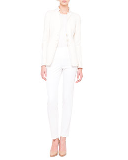 Akris Reversible Three-Button Jacket, Short-Sleeve Ribbed Top & Melissa Techno Slim Pants
