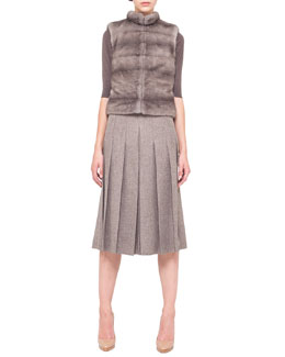 Akris Reversible Mink/Cashmere Vest, Mink-Collar Knit Top & Pleated Slit-Front Long Skirt